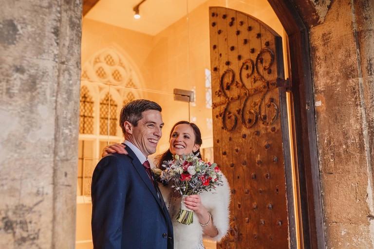 bride and groom enjoying their brighton college wedding