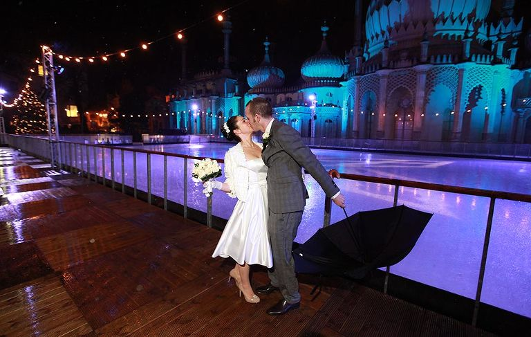 wedding couple at Royal Pavilion Ice Rink