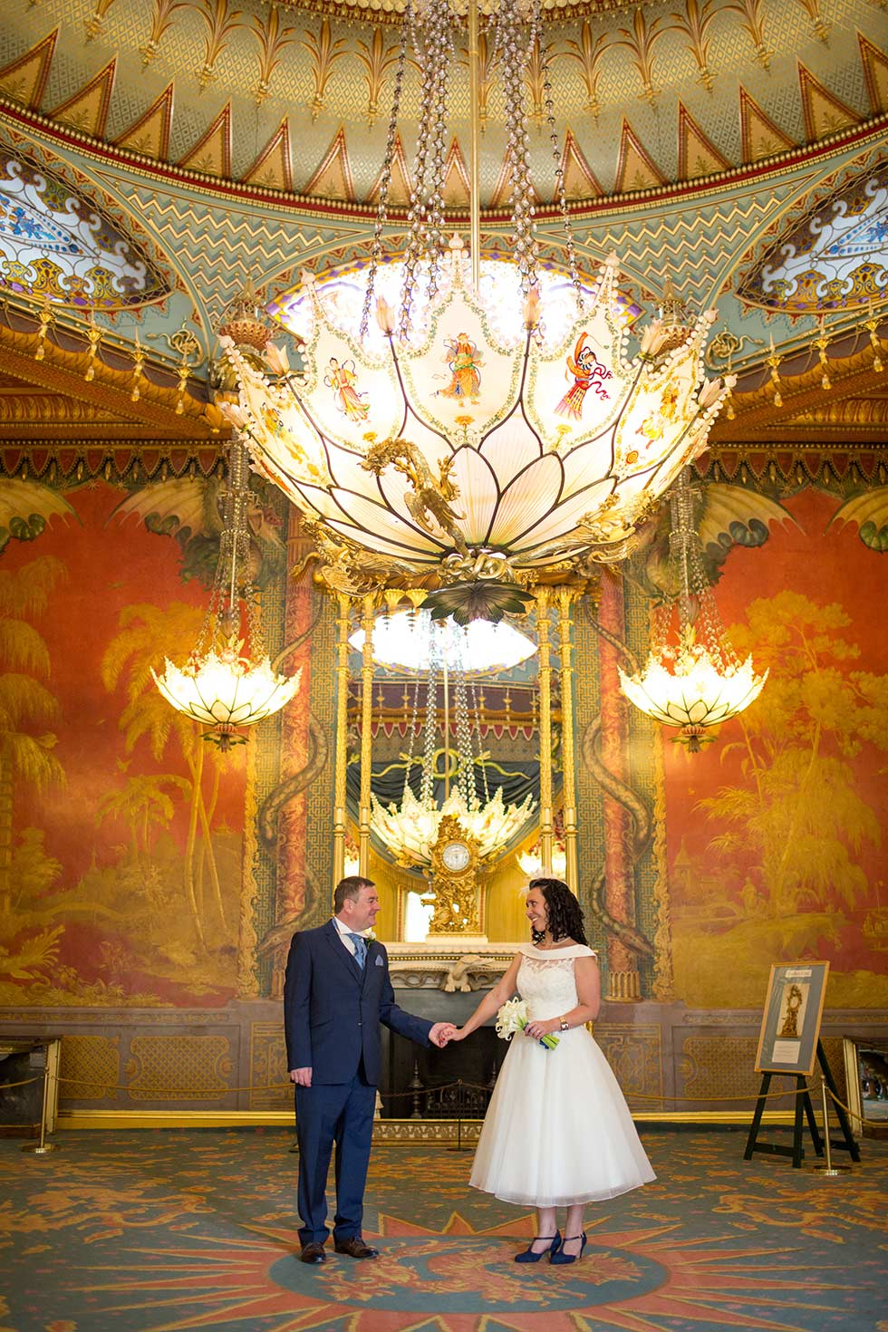 wedding couple in Brighton Royal Pavilion music room