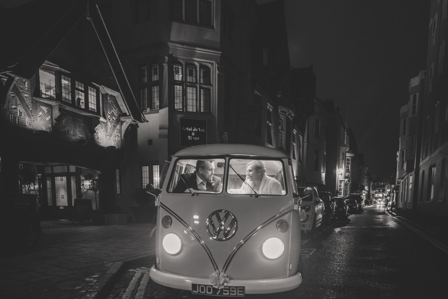 Bride and Groom in their VW Camper outside Hotel Du Vin in Brighton