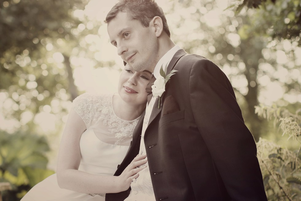 Bride and groom portrait at their Coltsford Mill wedding
