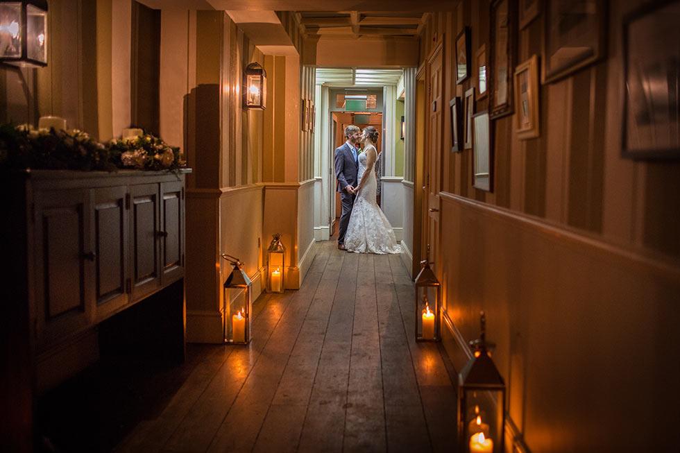 wedding couple in hallway at pub du vin brighton