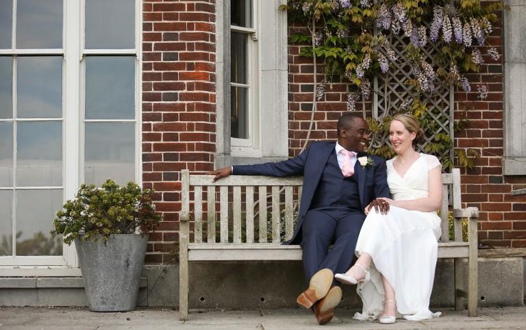 wedding couple outside pelham house lewes