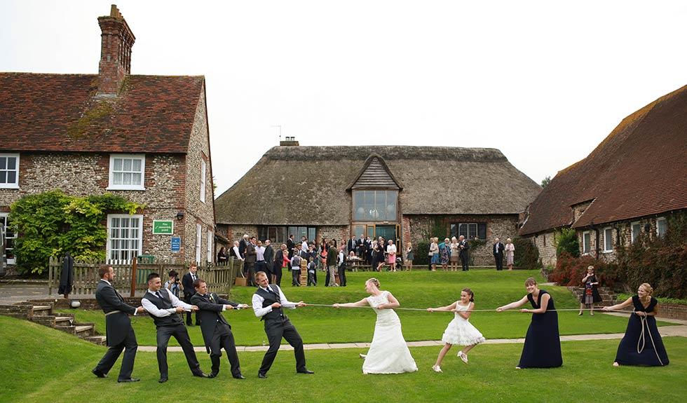 bridal party tug of war at Northease Manor wedding