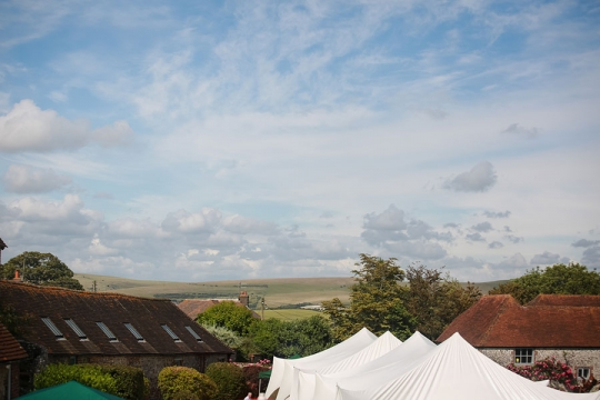 Northease Manor wedding venue view over fields