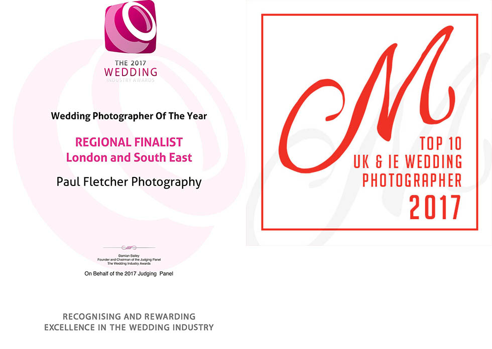 The 2017 Wedding Industry Awards REGIONAL FINALIST London and South East Certificate and 2017 Voted Top 10 Masters of Wedding Photography UK & Ireland