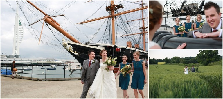 Wedding on the HMS Warrior, Portsmouth Historic Courtyard and the Hamsphire Bowman pub for Cerys and Alex