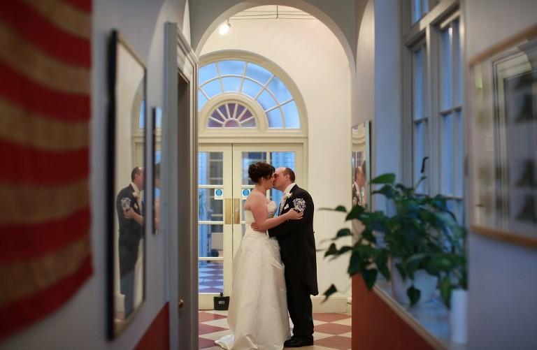 Wedding couple kiss in Pelham House Lewes