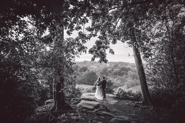 Wedding couple with a view from High Rocks in Tunbridge Wells