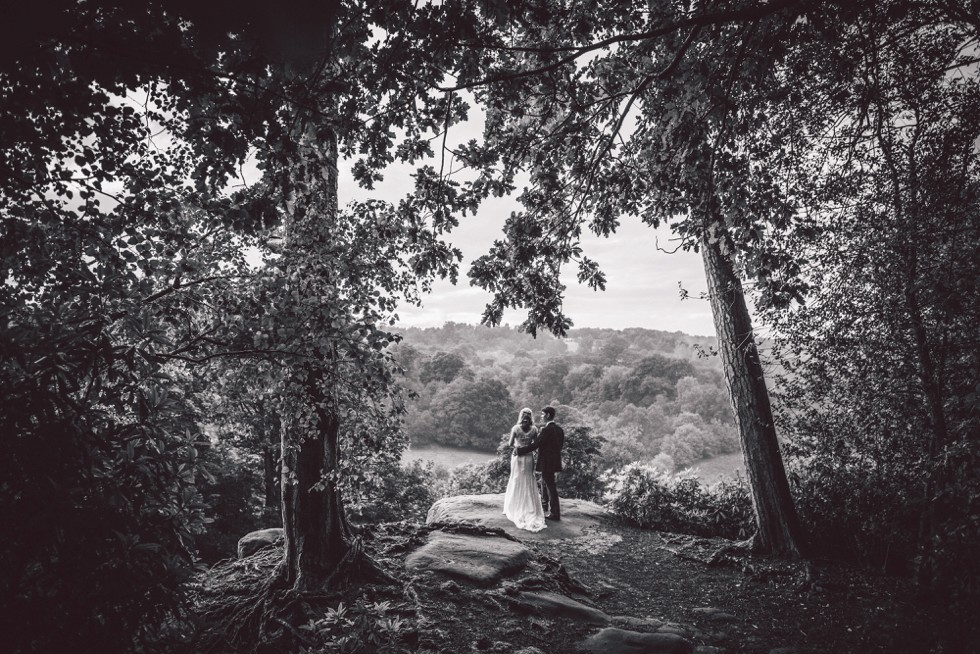 Wedding couple at High Rocks in Tunbridge Wells