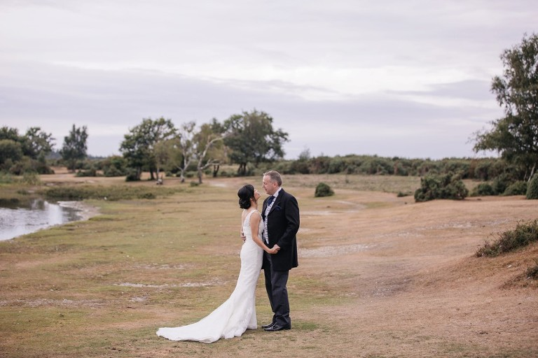 Bride and Groom at Hatchet Pond in the New Forest