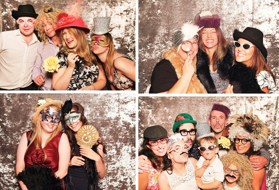 Guests in Photo Booth at Grittenham Barn wedding