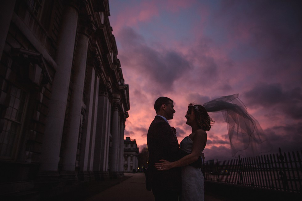 Bride and groom outside the Royal Naval College in Greenwich.