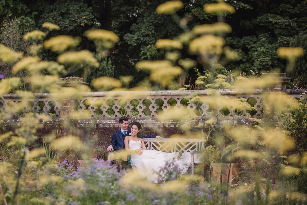 Bride and Groom in grounds of Wiston House