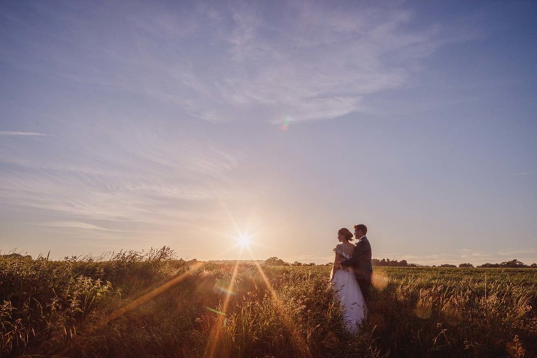 Sunset at a Grittenham Barn wedding