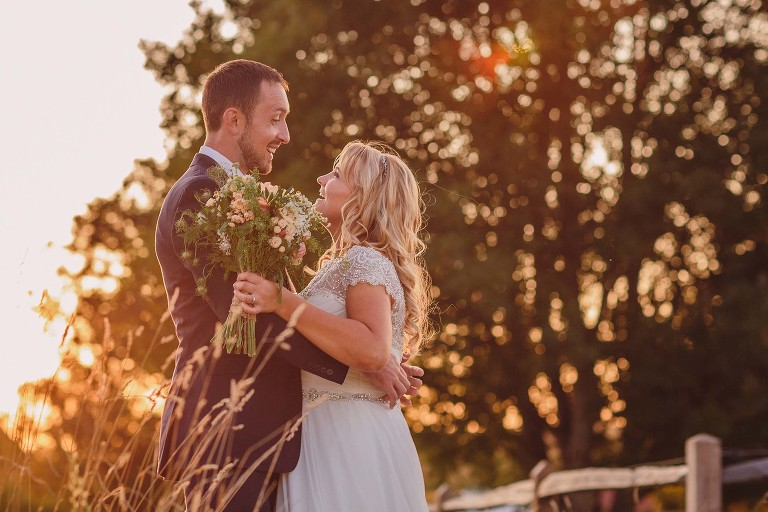 golden hour at a Grittenham Barn wedding