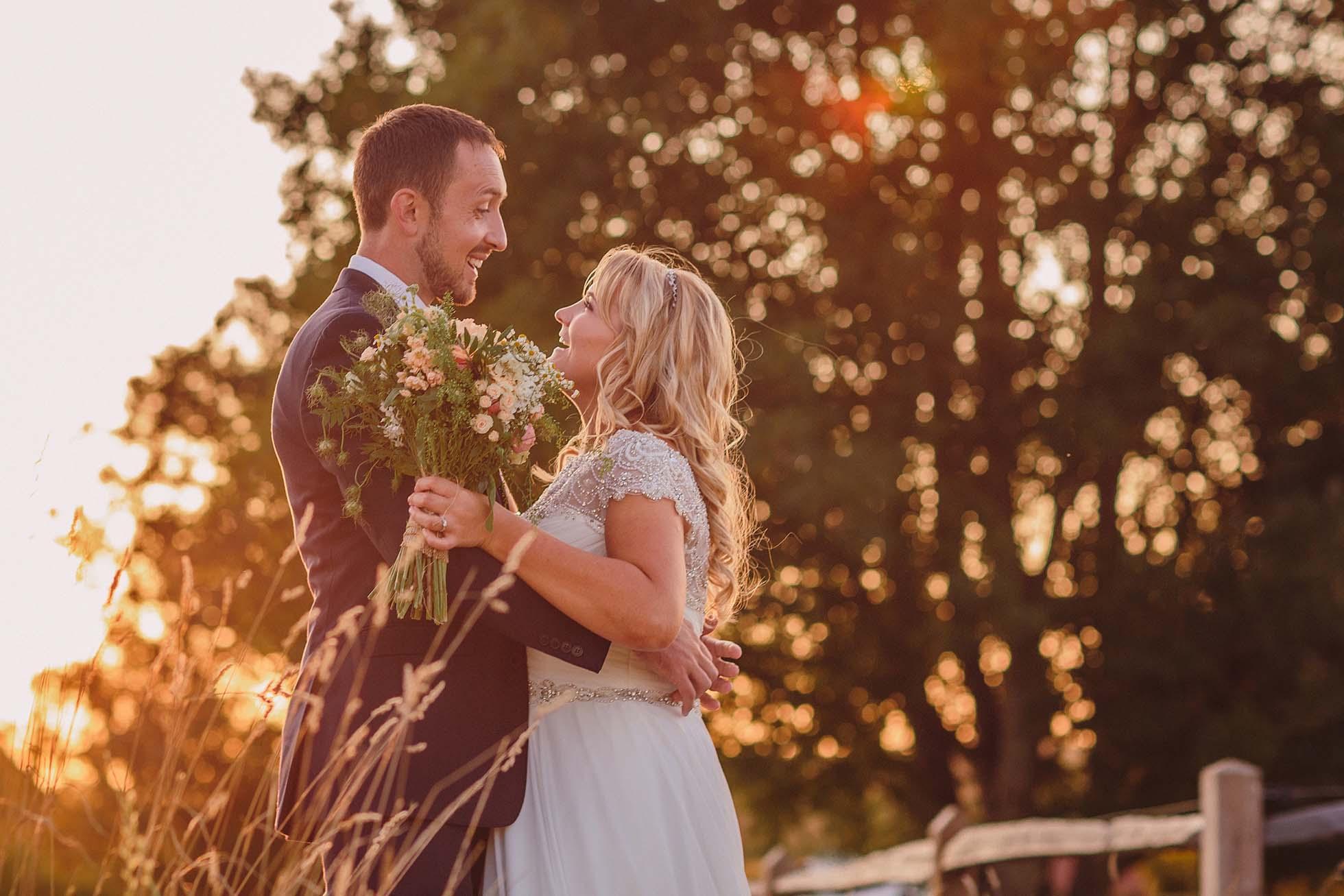 golden hour at a Grittenham Barn wedding
