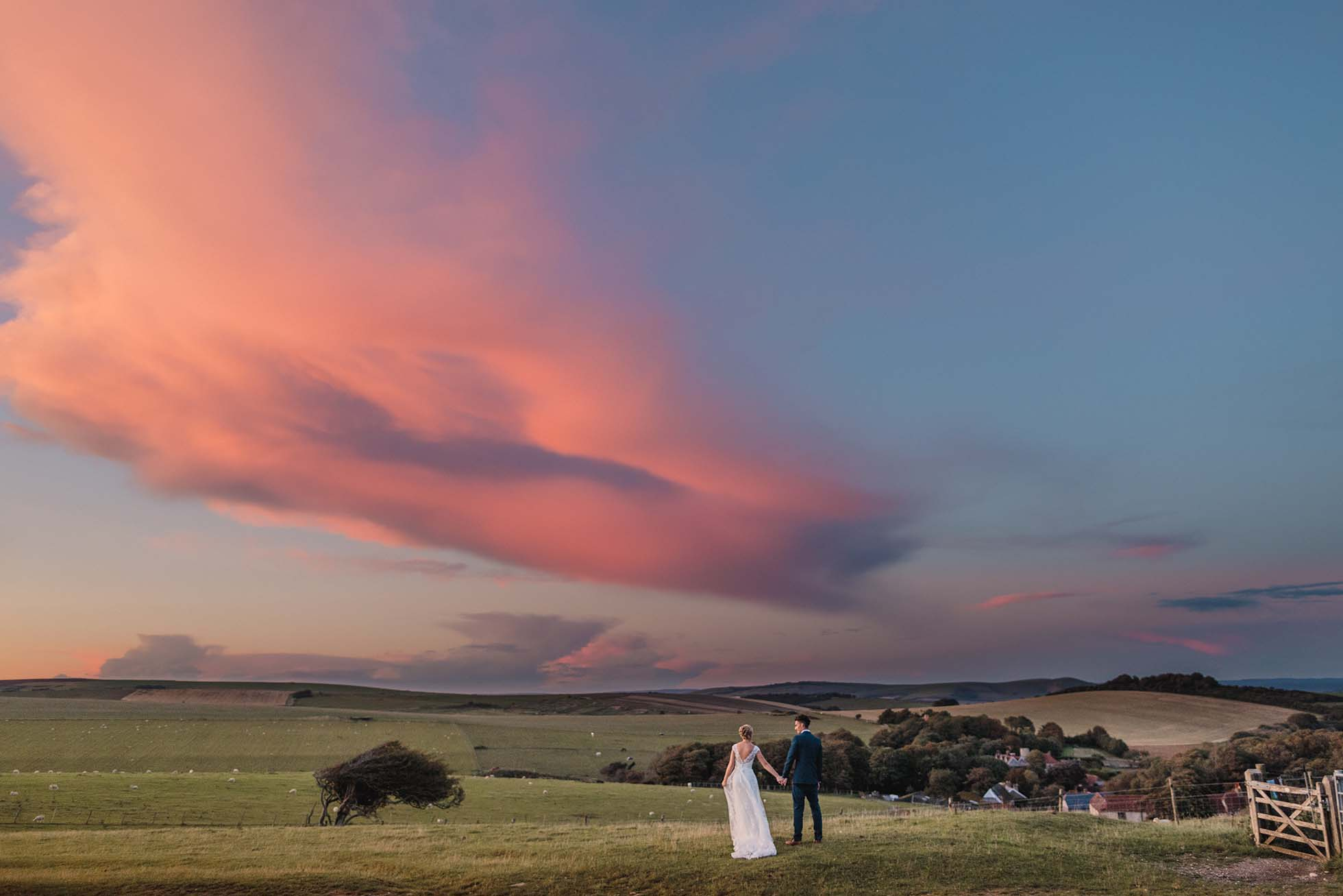 wedding sunset south downs
