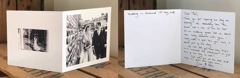 A thank you card for a wedding at Orleans House Gallery Twickenham