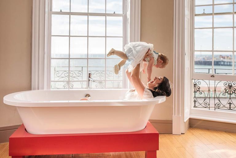 bride in the bath at the drakes hotel brighton