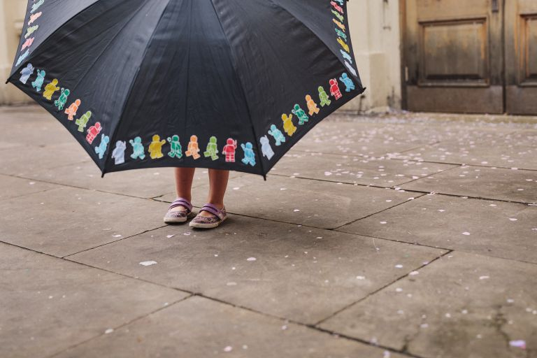 A large umbrella at a Brighton Town Hall wedding