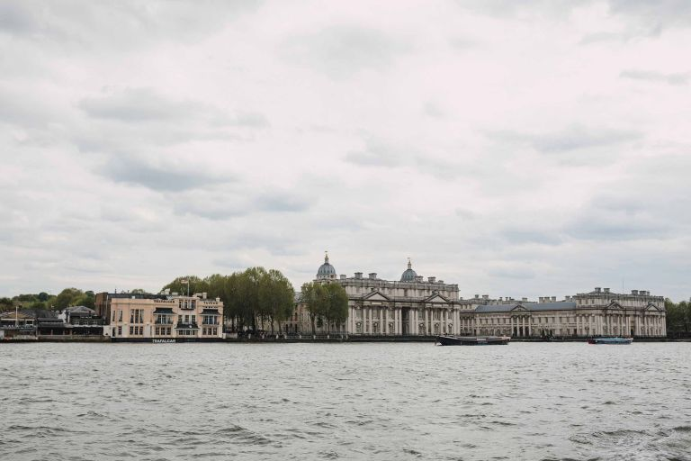 View of Greenwich Naval College from a river boat on the Thames