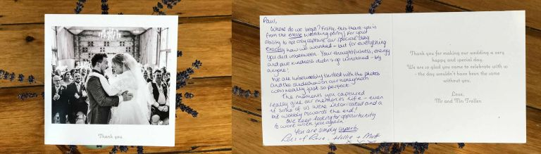 thank you card for wedding at Upwaltham Barns