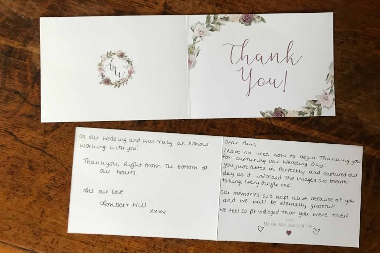 Thank you card for wedding at the Tithe Barn in Petersfield