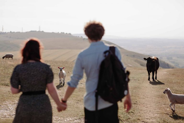 Pre-wedding shoot on the South Downs, close to the Devil's Dyke in Sussex.