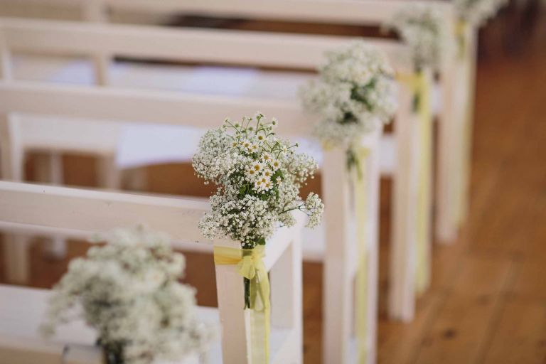 Chantry wedding chapel flowers for a wedding ceremony