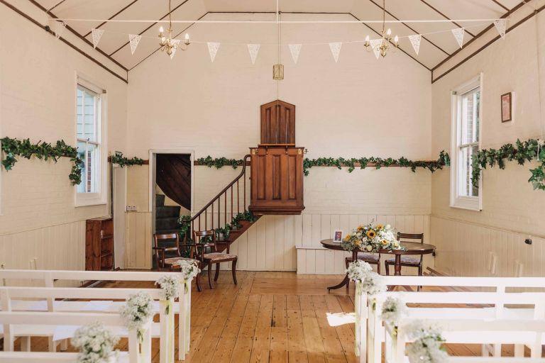 Chantry wedding chapel prepared for a wedding ceremony